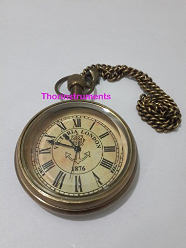 Watches Collectible Antiques (Vintage Victoria London 1876 Brass Pocket Chain Watch Collectible Watch)