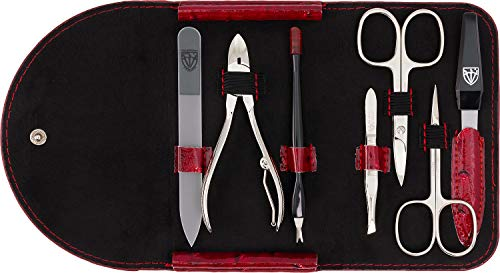 3 Swords Germany - brand quality 7 piece manicure pedicure kit set - nail care tools - Made in Solingen Germany (F9O) (Color: RED - OSTRICH SYNTHETIC LEATHER)