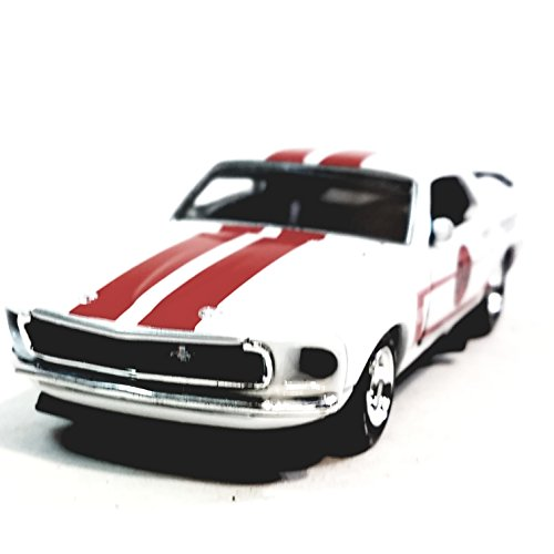 Metallic Team Platinum Series Ford 1969 White & Red Stripes Boss Mustang 302 Racing Team 1/36 Scale Diecast