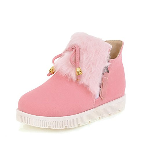 Pink Toe Boots Light HSXZ Round Shoes Women's ZHZNVX Snow Heel Pink Ankle Flat Dress Comfort Grey Winter Boots Booties Leatherette Draped Casual Boots for R17ZZf4
