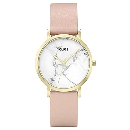 Cluse-Womens-La-Roche-Petite-33mm-Pink-Leather-Band-Steel-Case-Quartz-White-Dial-Analog-Watch-CL40101