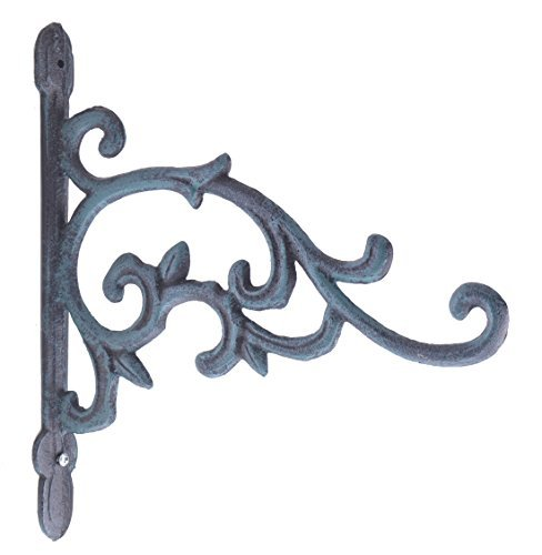 (Decorative Plant Hanger Flower Bud Vine Verdigris Cast Iron Basket Hook 9.25