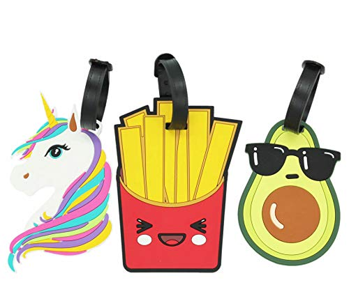 - ShineSnow Cute Unicorn Luggage Tags Silicone Bag Suitcase ID Labels Set of 3