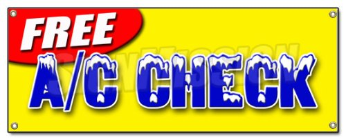 FREE A/C CHECK BANNER SIGN air conditioning diagnosis repair cold freon ice ac signs