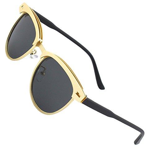 soleil rétro nbsp;C Lunettes Grey Lunettes Lenses Gold de monture Hommes soleil de polarisées Bv0911 Marque Bevi sans femmes Semi Frame ZqRwUXz