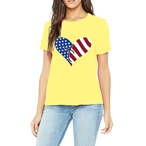 Respctful✿Women Tops Casual Short Sleeve Striped and Stars Print Patchwork Solid Top T-Shirt Yellow