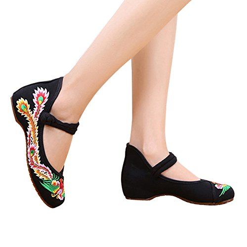 Cheongsam Phoenix Black Flats Embroidery Chinese Slip Traditional Shoes on Womens wvXT4SEqxE