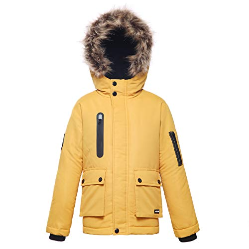 (Rokka&Rolla Boys' Water-Resistant Lined Hooded Thickened Parka Puffer Jacket with Removable Faux-Fur Hood Trim)