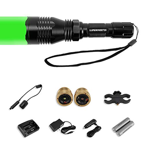 """LUMENSHOOTER Cree Green Red White Hunting Light Kit with 1"""" 30mm Scope Mount,Remote Pressure Switch,2600mAh Batteries,Home&Car Charger kit,Predator Hunting Flashlight for Coyote Hog Varmint"""