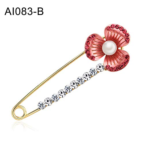 Brooch Pin,Maserfaliw Jewelry Brooch Breastpin,Fashion Women Faux Pearl Flower Rhinestone Lapel Collar Brooch Pin Jewelry Decor - AI083-B ()
