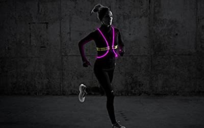 Tracer360 – Revolutionary Illuminated & Reflective Vest for Running or Cycling with Multicolored LED Fiber Optics (Women & Men, Adjustable, Lightweight, Weatherproof Gear for Jogging & Biking)