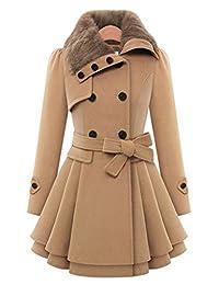 DOKER Women's Slim Woolen Double Breasted Fur Collar Dress Coat