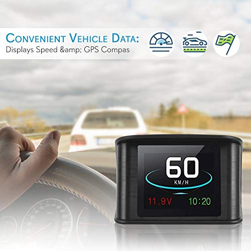 "Universal Vehicle Smart HUD Display - 2.6"" Digital Mini Car Dashboard Heads Up Windshield Speedometer Projector System w/ GPS Navigation Compass, Displays Speed, Distance, Time and More - Pyle PHUD19"