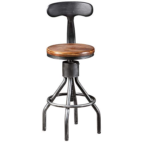 "BOKKOLIK Vintage Bar Stool- Industrial Swivel Kitchen Dining Chair-Countertop Height 23-33""-with Backrest"