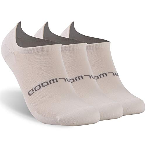 ZEALWOOD Men No Show Non Slip Athletic Running Sock Bamboo Low Cut Socks 3 Pairs-Beige L by ZEALWOOD