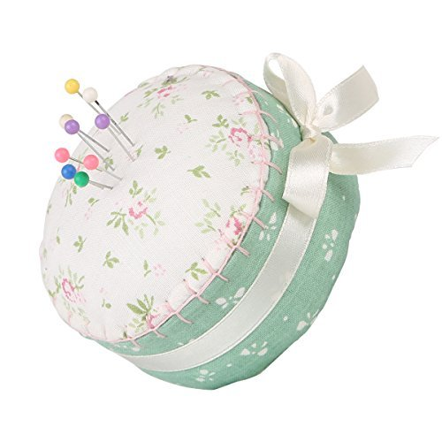 Neoviva Floral Fabric Coated Fully Padded Pin Cushion in Cupcake Shape with Satin Ribbon Knot for Long Needle Storage, Floral Stylish Japan by Neoviva