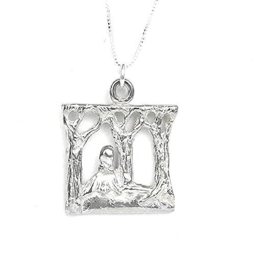 "Into The Woods Musical Theater inspired Sterling Silver Necklace - Story Card, Gift Box - Handcrafted in USA - 20"" Chain"