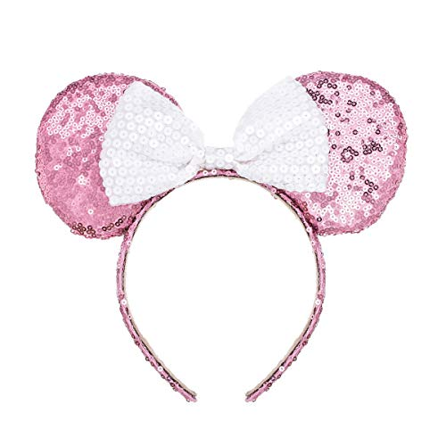 A Miaow Mickey Mouse Sequin Ears Headband Minnie Glitter Hair Clasp Birthday Supply Girls Kids adult (Pink and -
