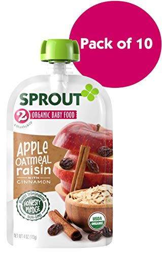 (Sprout Organic Stage 2 Baby Food Pouches, Apple Oatmeal Raisin w/ Cinnamon, 4 Ounce (Pack of 10))