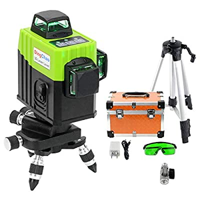 Dingchao Self-Leveling 360 Green Laser Line Level with Tripod/Stand,Bracket,Micro-Adjust Base,Horizontal Vertical 360 degree Three-Plane Laser Leveling Tool for Construction Laser Levels Layout Tools