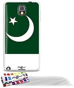 """Carcasa Flexible Ultra-Slim SAMSUNG N9000 de exclusivo motivo [Bandera Pakistán] [Blanca] de MUZZANO  + 3 Pelliculas de Pantalla """"UltraClear"""" + ESTILETE y PAÑO MUZZANO REGALADOS - La Protección Antigolpes ULTIMA, ELEGANTE Y DURADERA para su SAMSUNG N9000"""