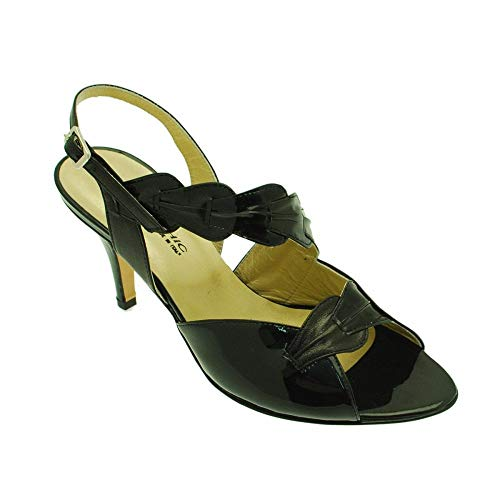 Women's Chic Black Heel Sabrina Back Patent Sandal Sling High v1xqwa