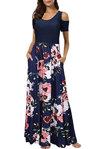 Kancystore Women's Short Sleeve Bohemian Printed Long Maxi Dresses with Pockets (Navy Blue_L) from Kancystore