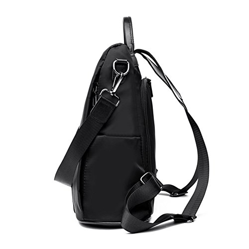Shoulder Lightweight Waterproof theft Oxford Purse Leather Backpack Bag Anti Black Women w16q0P1