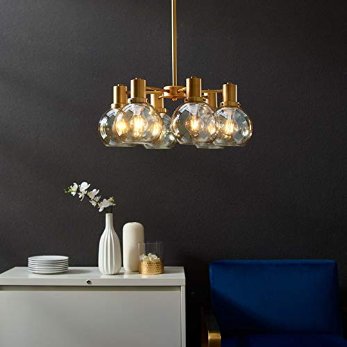Modway EEI-3272 Resound Amber Glass and Brass Pendant Chandelier in, Brown ()