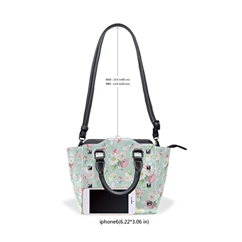TIZORAX Shoulder Bags Of Field Handbags Women's Flowers Leather Tote 606wqYfr