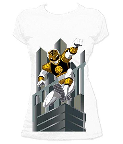 Power Rangers Women's White Ranger Deco T-Shirt Small - Power Ranger Outfit White