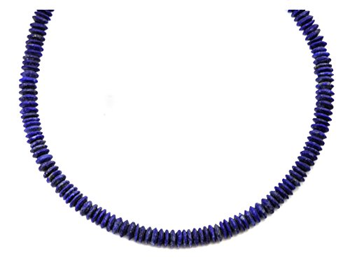 Sterling Silver Lapis Lazuli Necklace Solid Strand Matt Blue Finish Shimmery Small Dainty Simple Design, 20