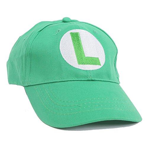 Super Mario Bros Baseball Hat Cap Halloween Cosplay Hat Red&Green (Green) -