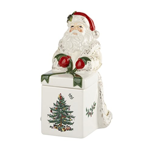 Spode Christmas Tree Santa Candy Box, Gold