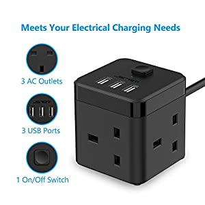 JSVER Compact Cube Extension Lead with 3 USB Slots (5V/3.1A) 3 Outlet Power Strip Surge Protected Power Socket with 1.5M Cable for Home, Office, Hotel, Travel -Black