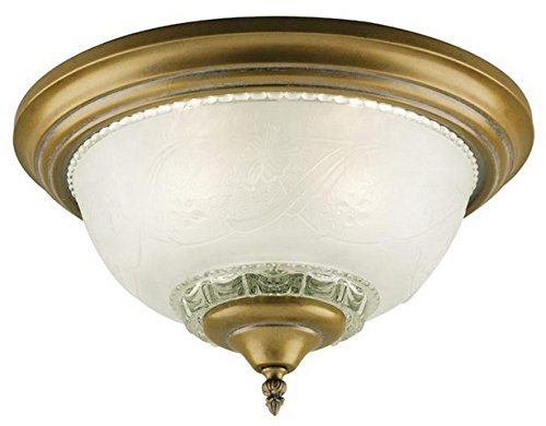 (Westinghouse 6617700 3-Light Flush-Mount Interior Ceiling Fixture, Cozumel Gold Finish with Frosted Embossed Floral and Leaf Design Glass)