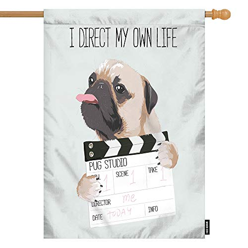 HGOD DESIGNS Dog House Flag,Funny Cute Pug Dog with Director Slate Welcome Decorative House Flags Cotton Linen Waterproof for Garden Banner 28