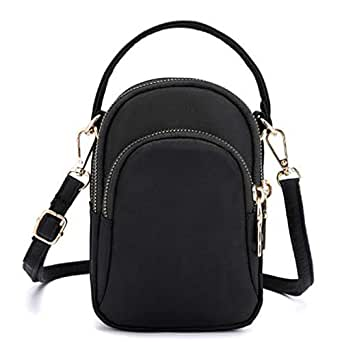 TOOGOO Women'S Shoulder Bag Fashion Handbag Crossbody Nylon Wallet Solid Color Zipper Waterproof Flap Crossbody Bag Black