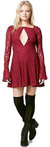 Free People Women's Lace Cutout Peasant Dress (Plumeria, Small)