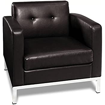 this item avenue six wall street faux leather armchair with chrome finish base black