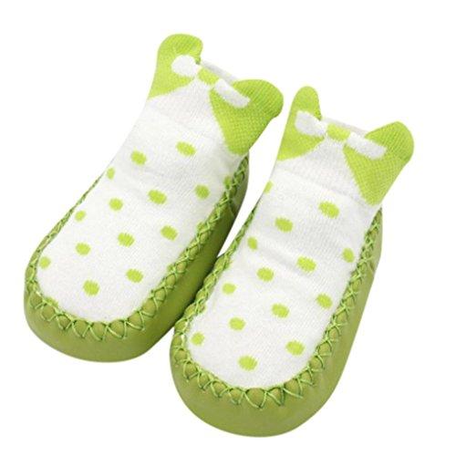 SUEKQ Unisex Baby Newborn Bootie, Anti Slip Sock Slipper Cute Bow Dot Crib Shoes for Prewalker Infant Toddler Girls Boys (0-6M, Green)