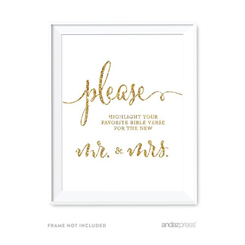 Andaz Press Wedding Party Signs, Gold Glitter Print, 8.5x11-inch, Please Highlight Your Favorite Bible Verse for the New Mr. & Mrs, 1-Pack, Not Real Glitter (Bible Verse Favorite)