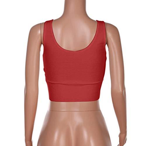 wuayi Red Chemisier Body Chemise Manche sans Uni Femme rrFRxn