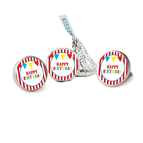 (Carnival Red and White Stripes Kisses Candy Stickers, Party Favor Stickers, Candy Labels, 324 Total Labels)