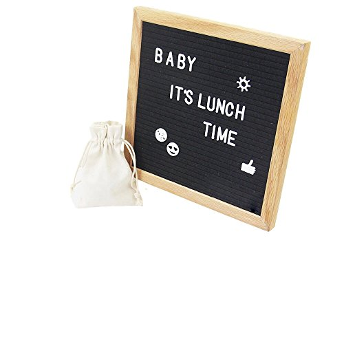 Bliss Moon & Sun 10x10 in. Felt Letter Board, Customizable Wooden Message Board, 290 Letters & 45 Emoji/Symbols Included, Wall Mountable Letter Sign, with Canvas Bag, Hook, and Stand Included (Round Frame For Best Shape Face)