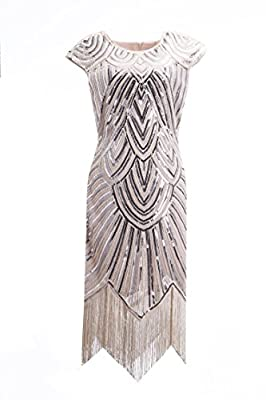 1920s Style Sequin Beaded Fringe Flapper Dress