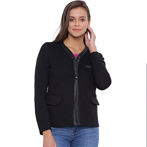 Campus Sutra Women Black Jacket(AW16L_JK2BT3PK_W_PLN_BL_L)