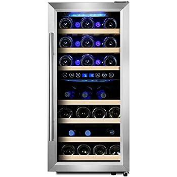 24 inch wide steel door. phiestina 33 bottle wine cooler double zone steel door with handle 24 inch wide