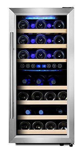 Phiestina 33 Bottle Wine Cooler Double Zone Steel Door with Handle by Phiestina
