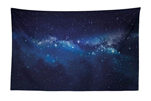Lunarable Star Tapestry, Deep in The Mysterious Space Theme Dark Blue Midnight Sky Celestial Inspirational, Fabric Wall Hanging Decor for Bedroom Living Room Dorm, 45